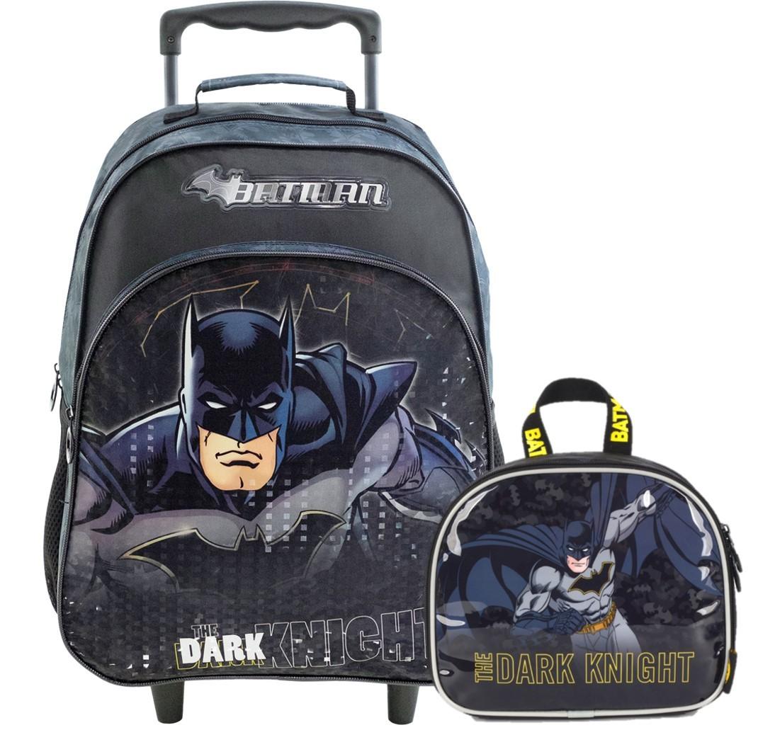 Kit Escolar Mochila com Carrinho e Lancheira Batman Dark Knight