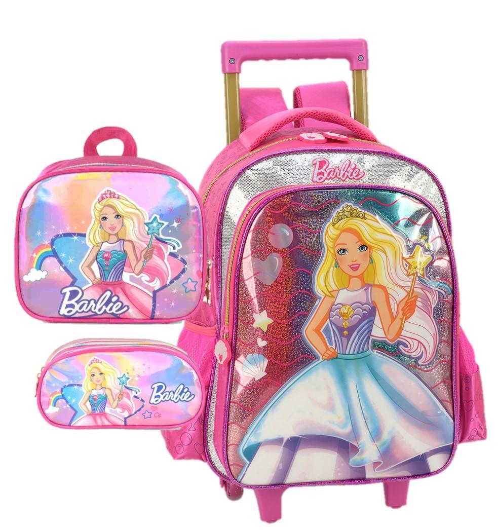 Kit Escolar Mochila com Carrinho, Lancheira e Estojo Barbie
