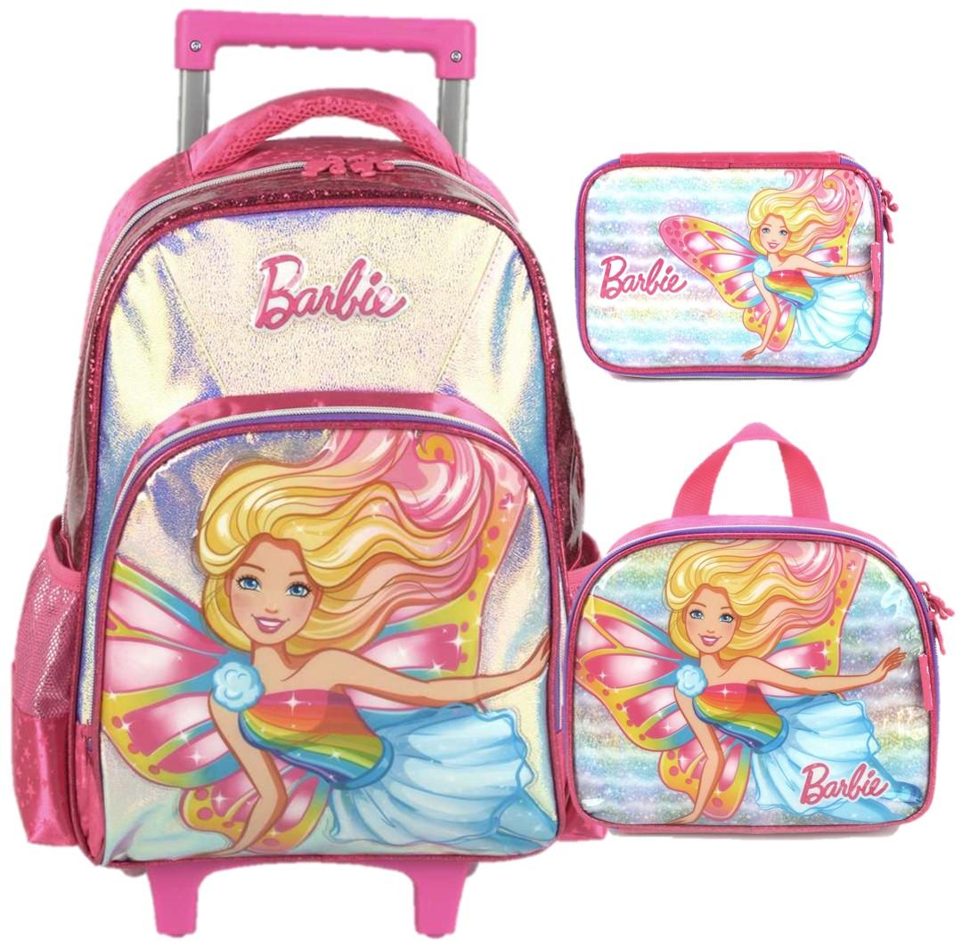 Kit Escolar Mochila com Carrinho, Lancheira e Estojo box - Barbie