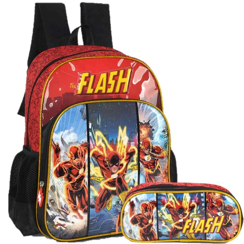 Kit Escolar Mochila e Estojo Duplo Flash