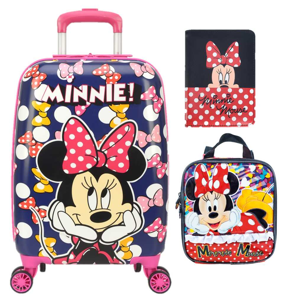 Kit Mala Escolar/Viagem, Lancheira, Porta Passaporte/Documentos  Minnie Mouse