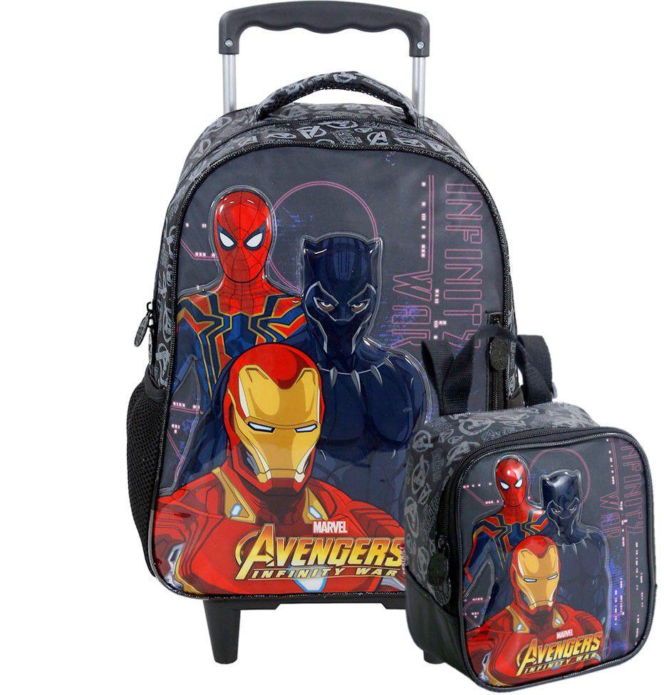 Kit Mochila De Carrinho e Lancheira Avengers