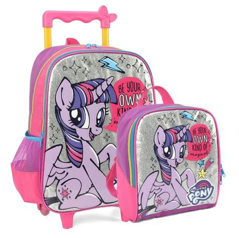 Kit Mochila de Carrinho e Lancheira My Little Pony