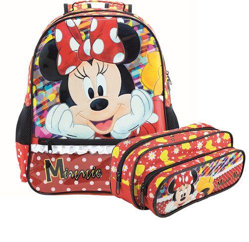Kit Mochila e Estojo Minnie Mouse