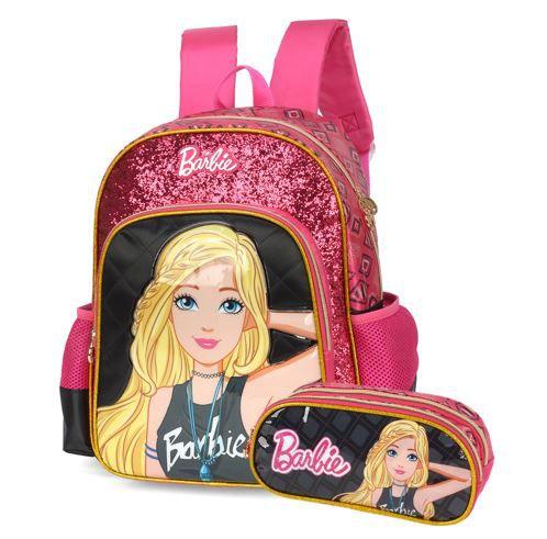 Kit  Mochila Escolar e Estojo Barbie Juvenil