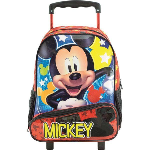 "Mochila De Carrinho Escolar Mickey Mouse ""Hey Mickey""- 8960"