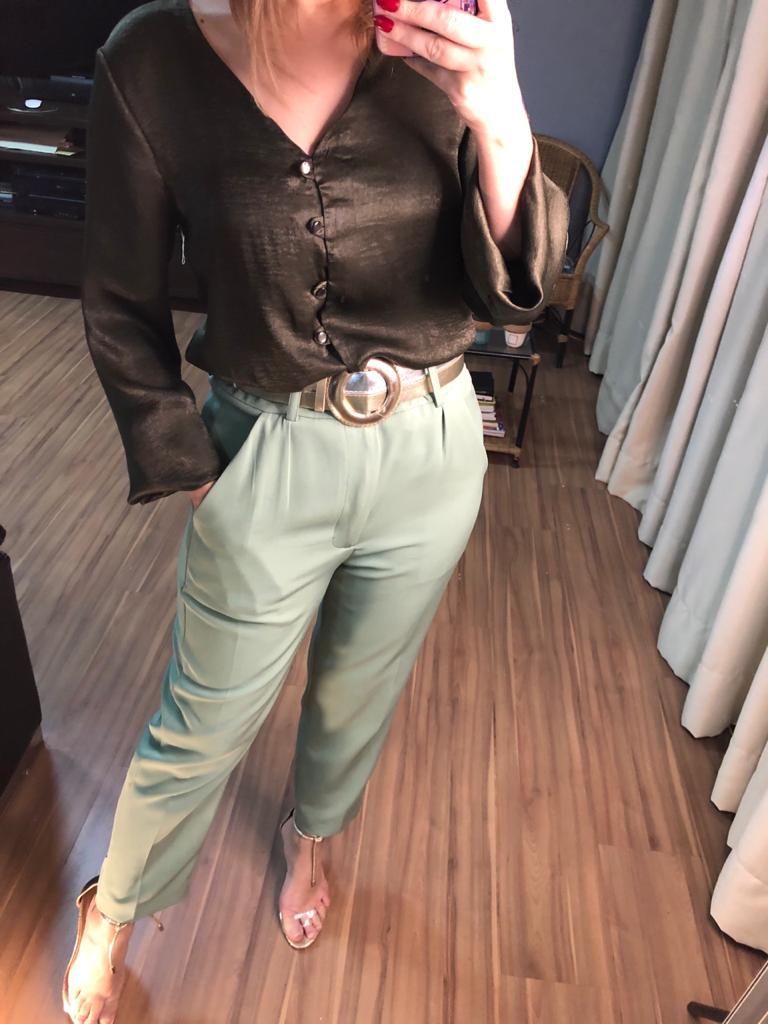 Blusa Flor de lis m/l com botões e amarração