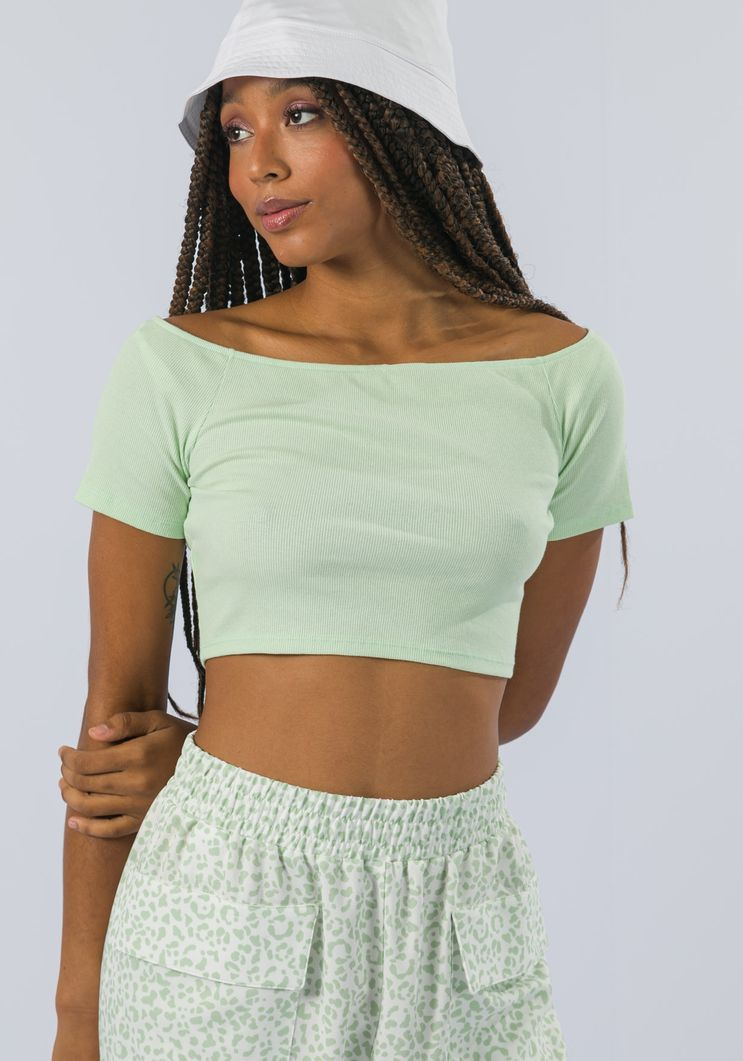 Blusa Myft cropped malha ombro a ombro