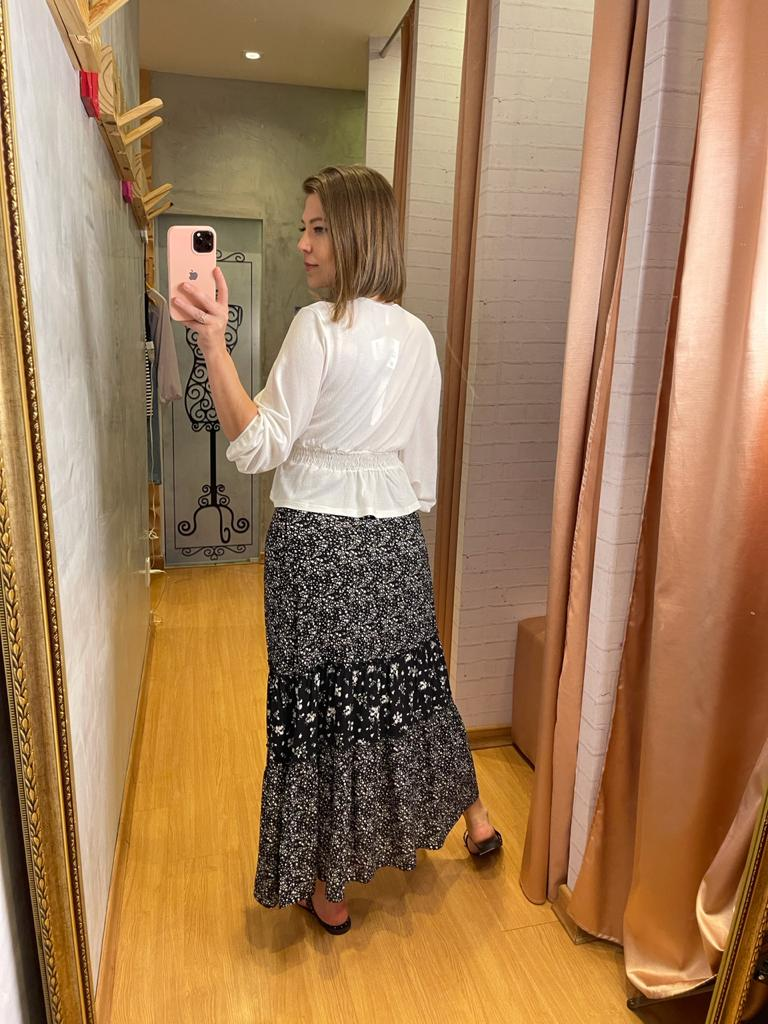 Blusa Myft manga longa elástico cintura