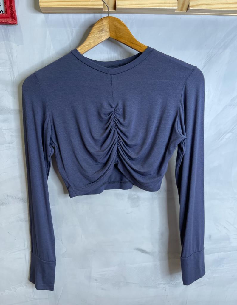 Blusa open Cropped drapeado