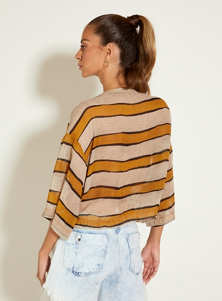 Blusa Open listrada costas voil de seda