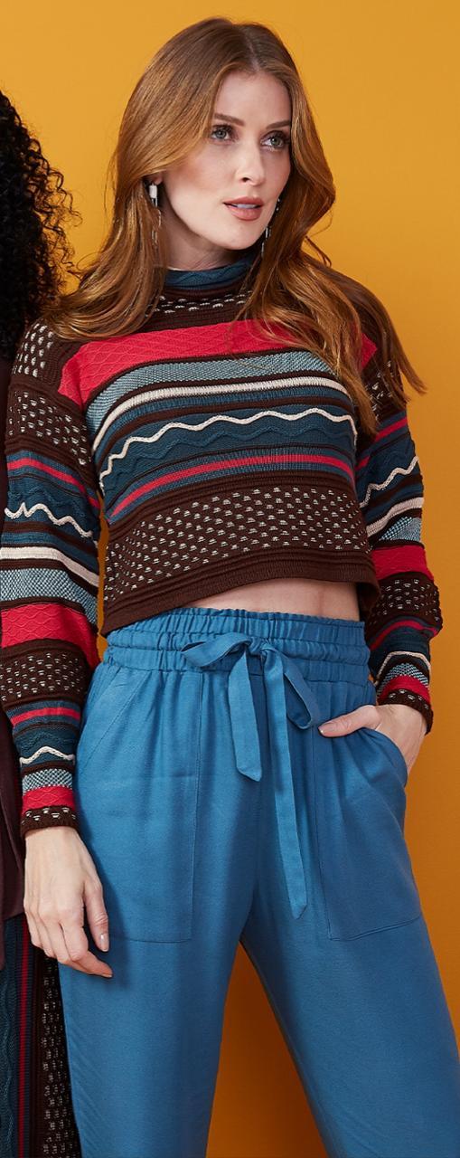 Blusão My Place Cropped tricot listras