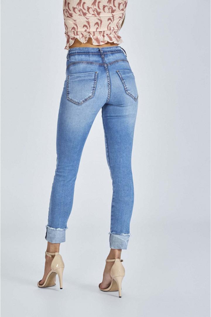 Calça Flor de Lis jeans Quartzo Cropped seca barriga