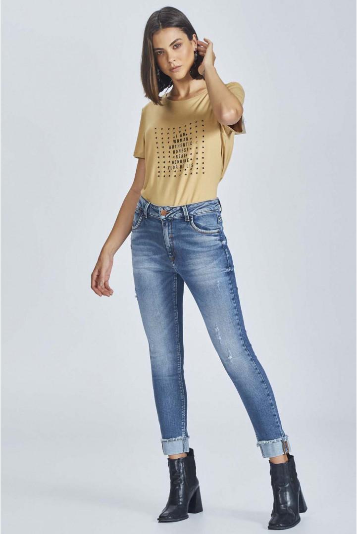 Calça Flor de Lis jeans rubi cropped