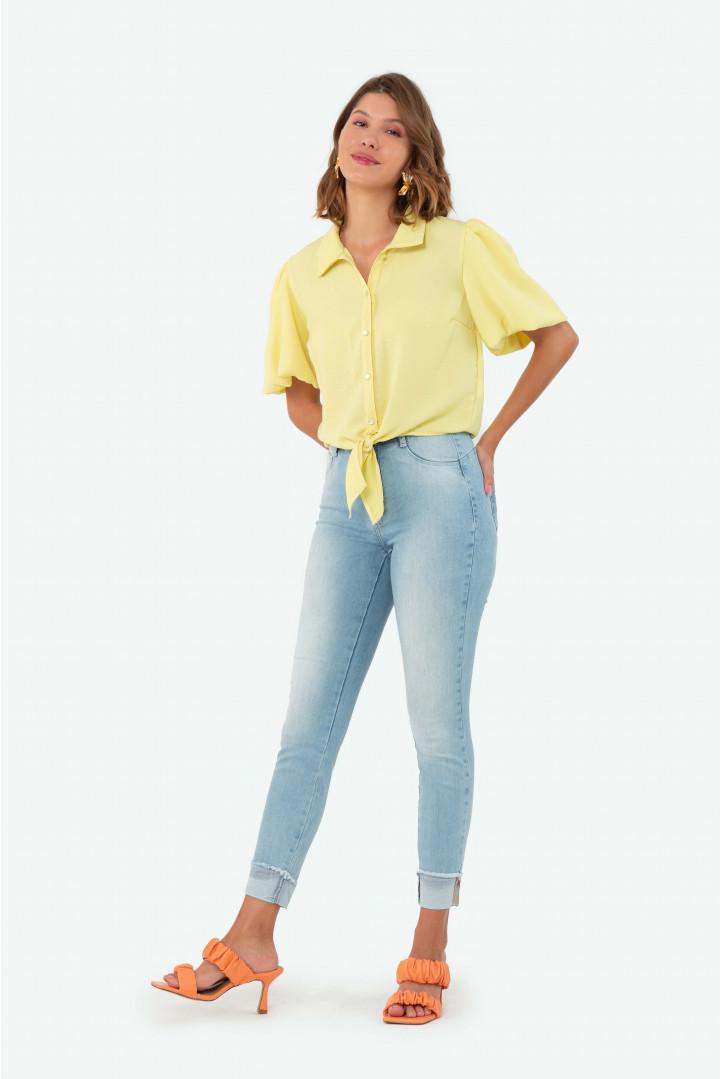 Calça Flor de Lis quartzo Jeans barra dobrada - lavagem clara
