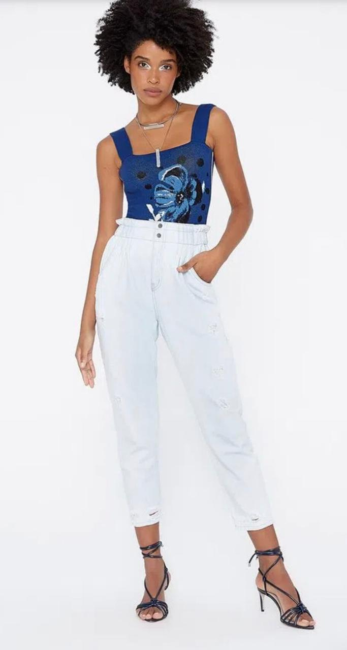 Calça My place jeans clochard elástico