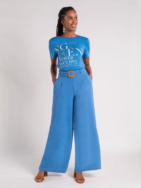Calça Naguchi pantalona com fivela