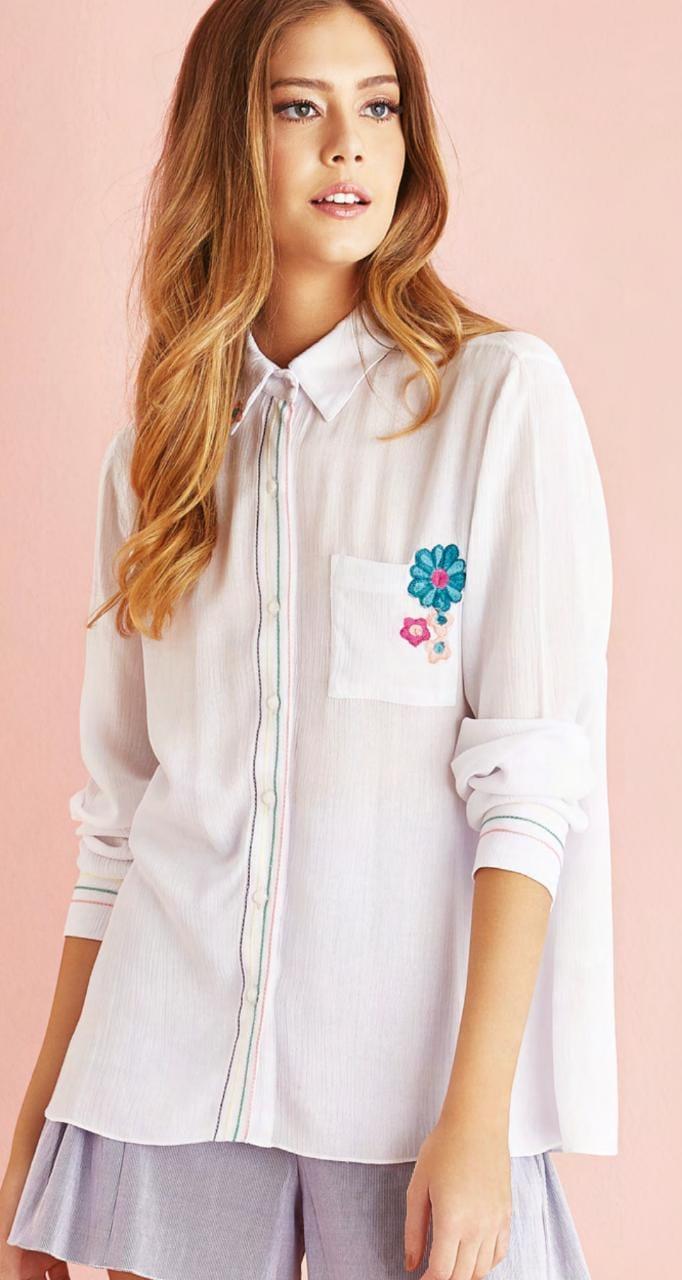 camisa feminina principessa branca polo azul manga jeans segunda pele 583bbf07de198