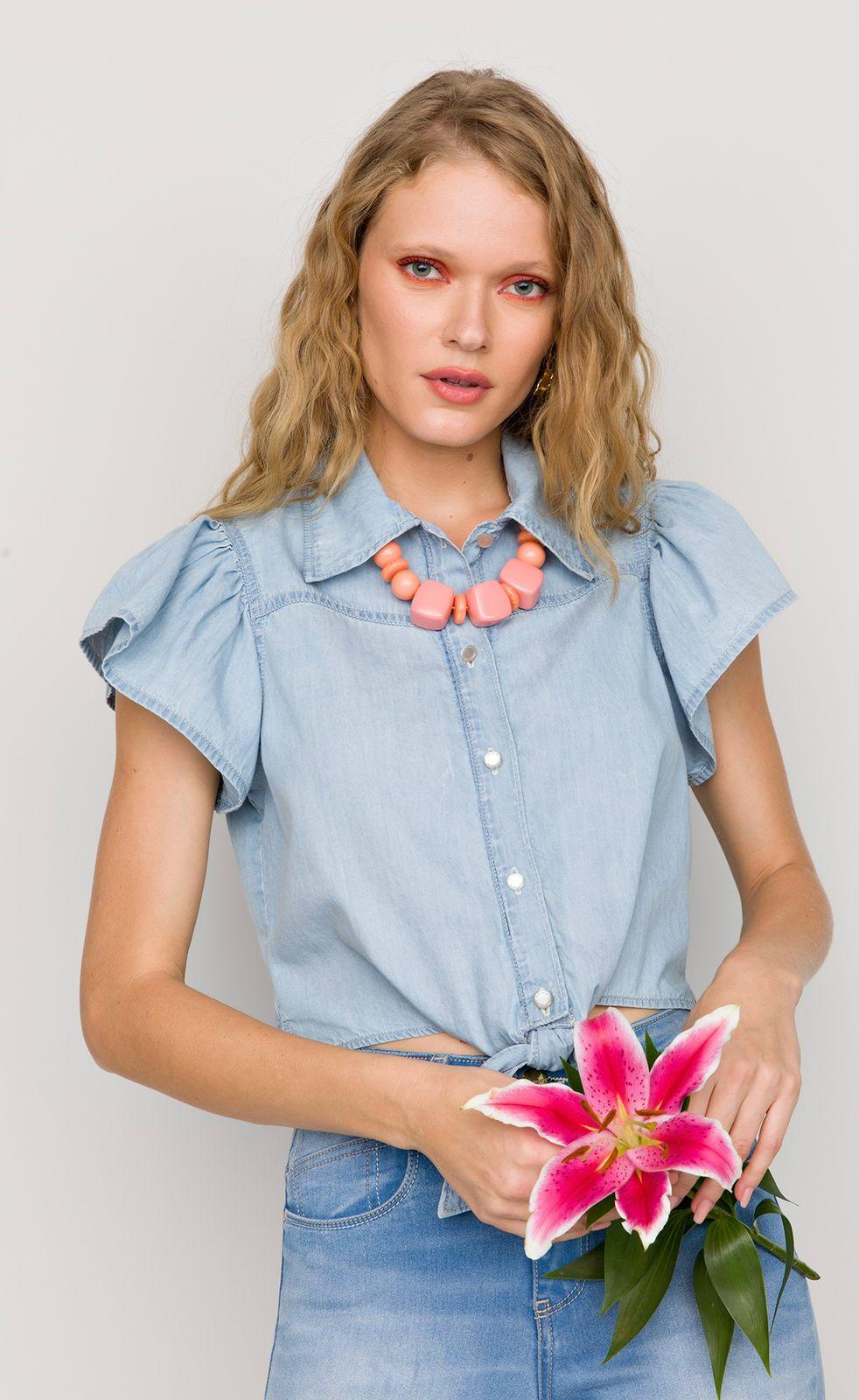 Camisa Flor de Lis jeans amarração