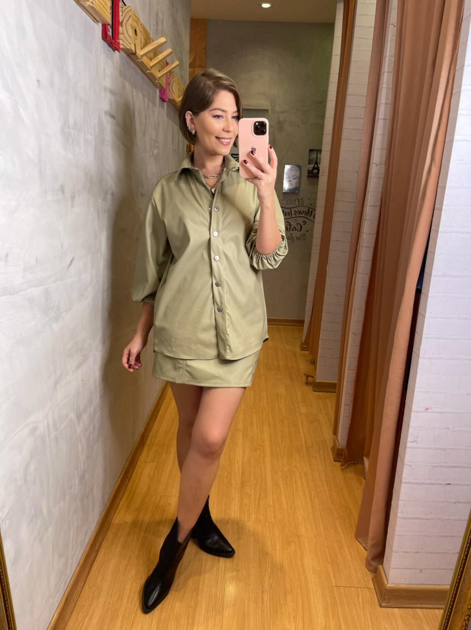 Camisa Myft alongada couro