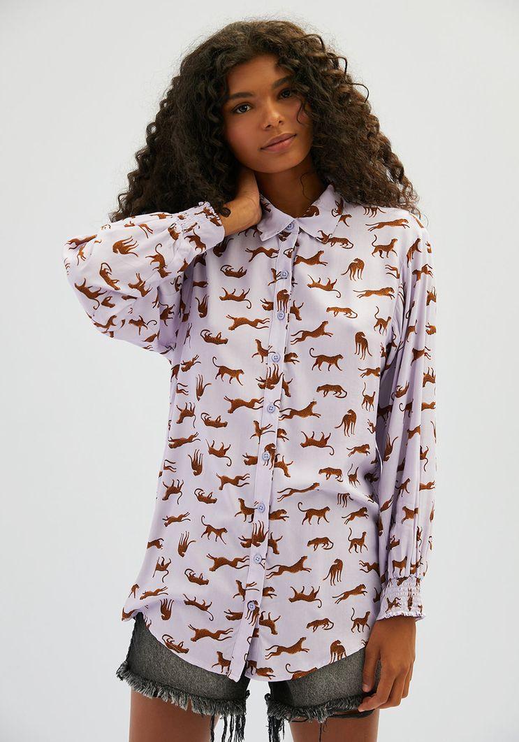 Camisa Myft alongada estampa tigre