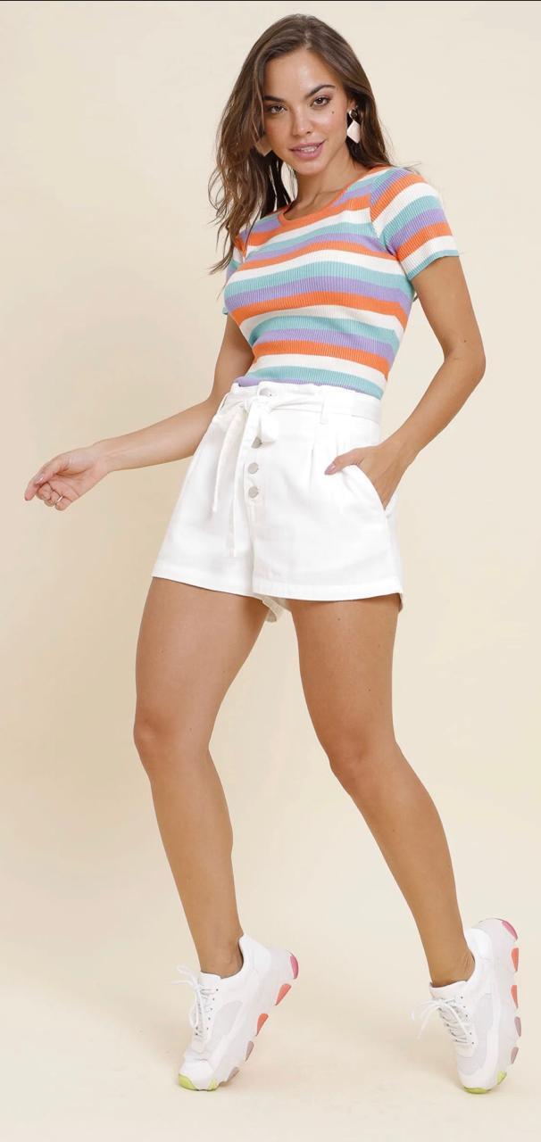 Camiseta tricot listra arco iris