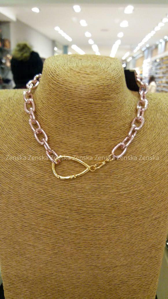 Colar corrente pink chain gota mosquetão