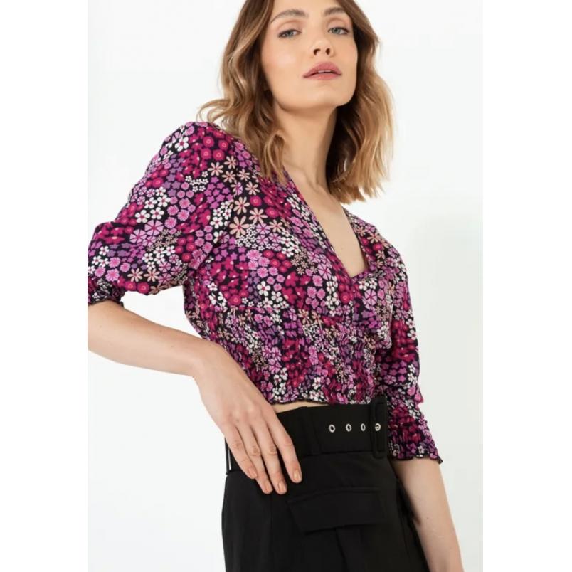 Cropped Sly manga e cintura lastex flores