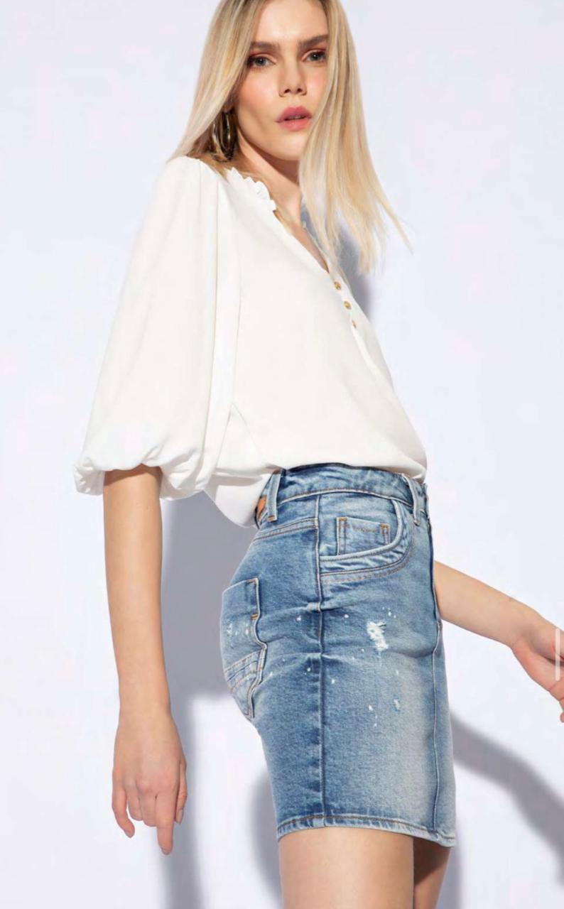 Saia Flor de lis jeans escrito bordado