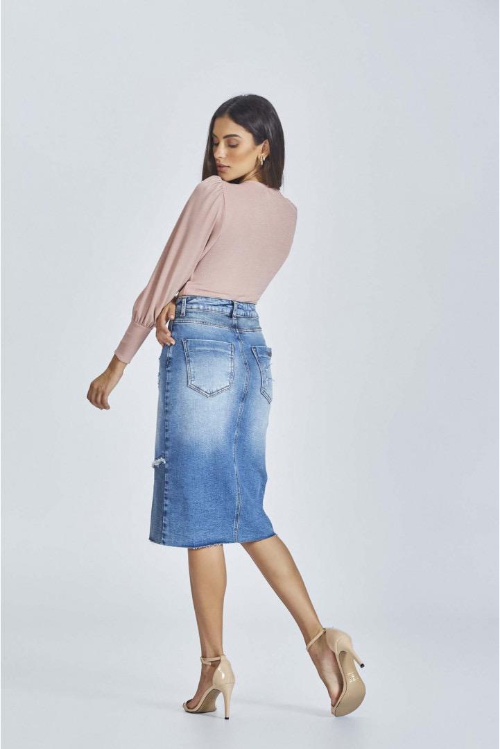 Saia Flor de Lis jeans recortes