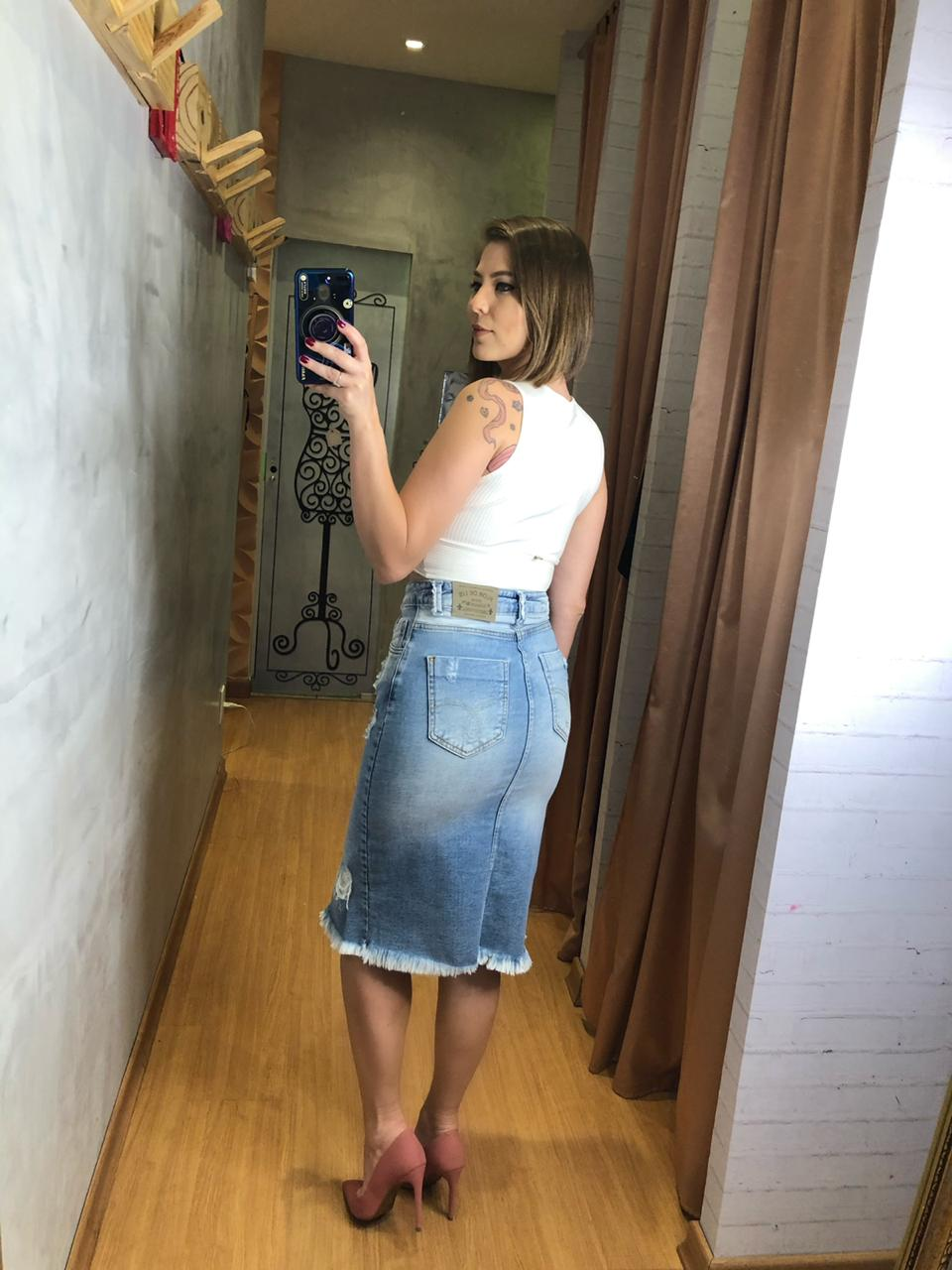 Saia flor de lis midi jeans