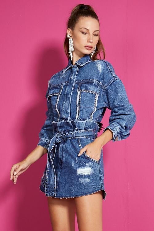 Saia Open jeans com taxas