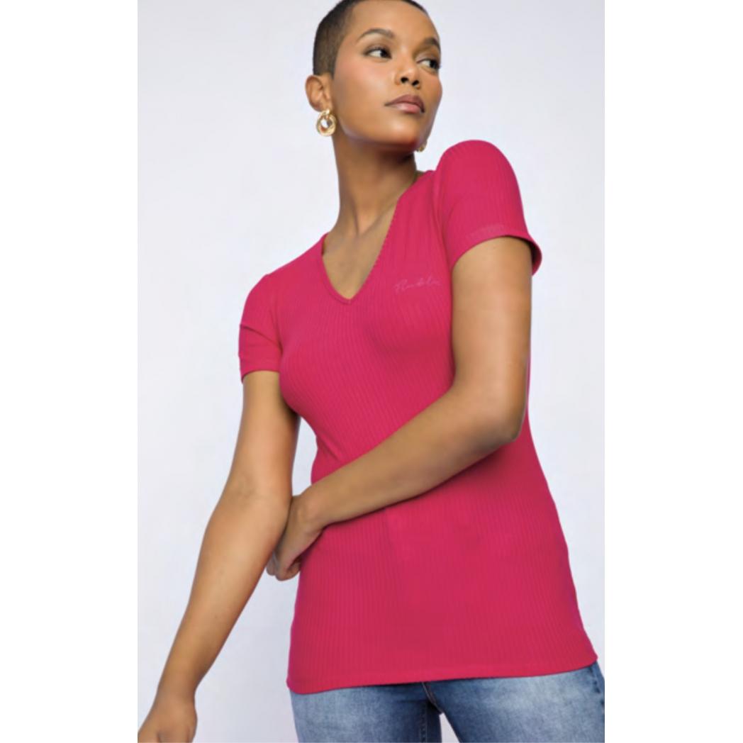 T-shirt flor de lis canelada decote v