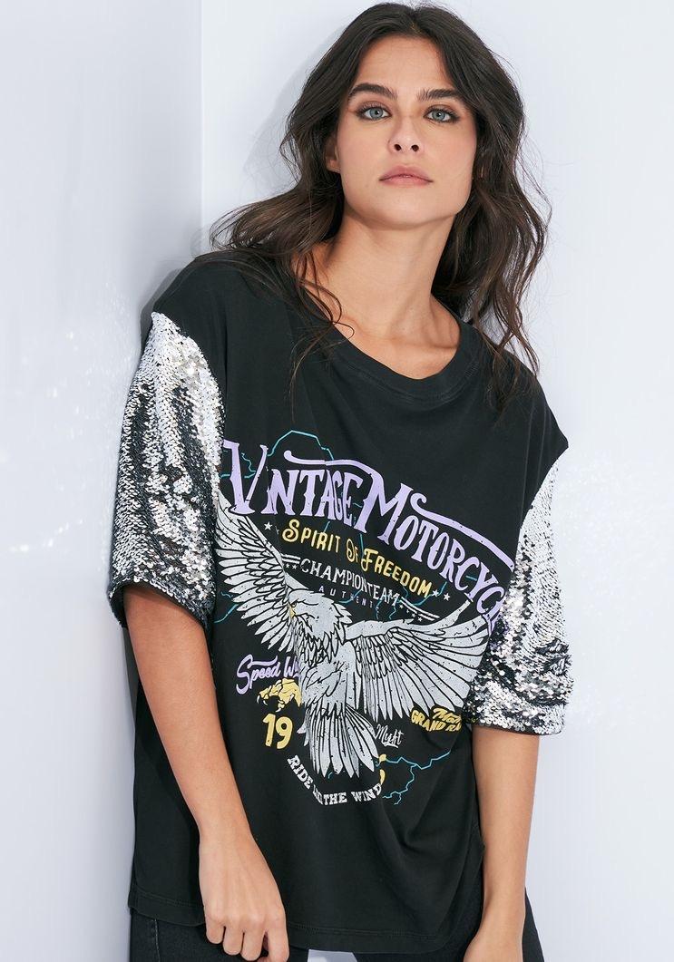 T-Shirt Myft águia manga paetê