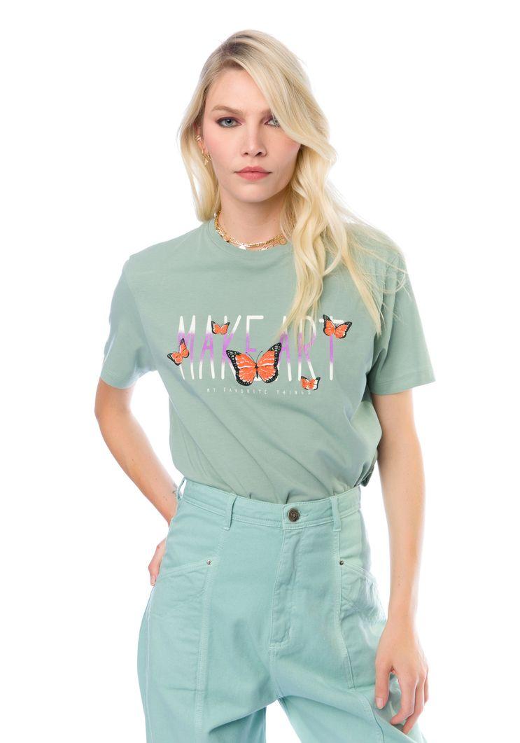 "T-Shirt Myft ""make art"" borboletas"