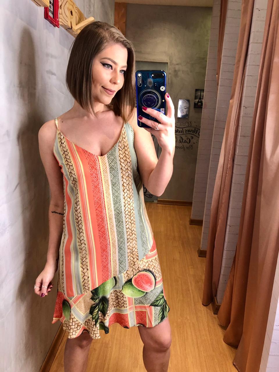 Vestido flor de lis curto est coral cestaria
