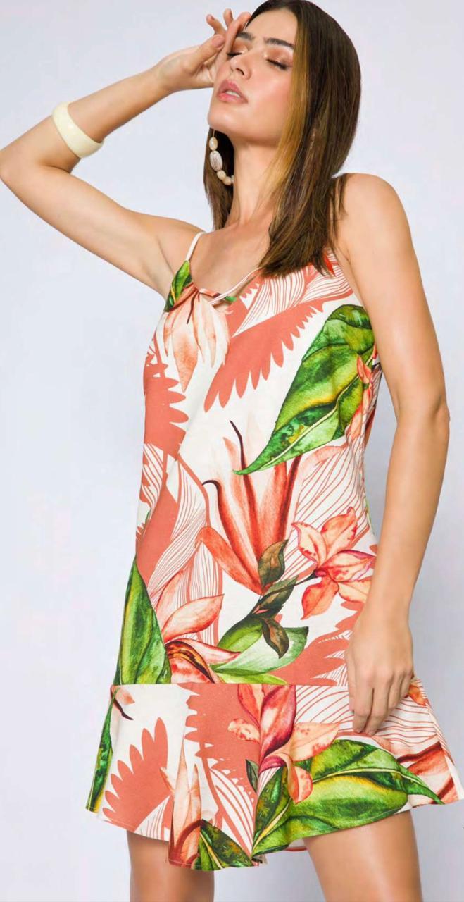 Vestido Flor de lis curto estampado folhagem