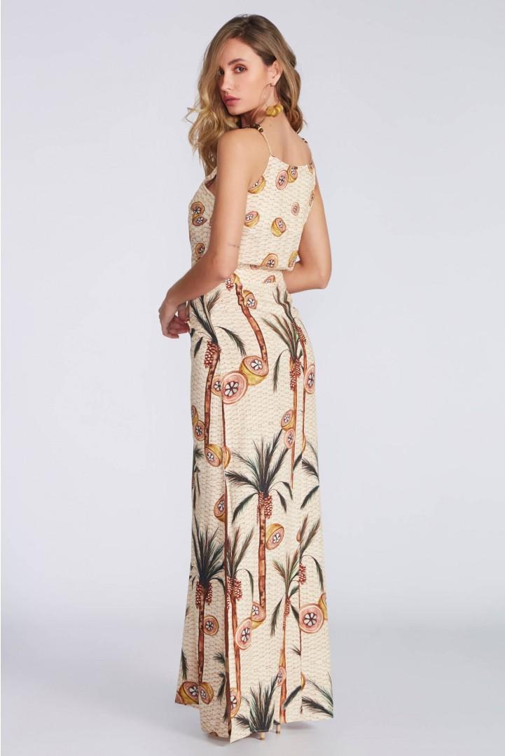 Vestido Flor de lis linho palmeira babaçu