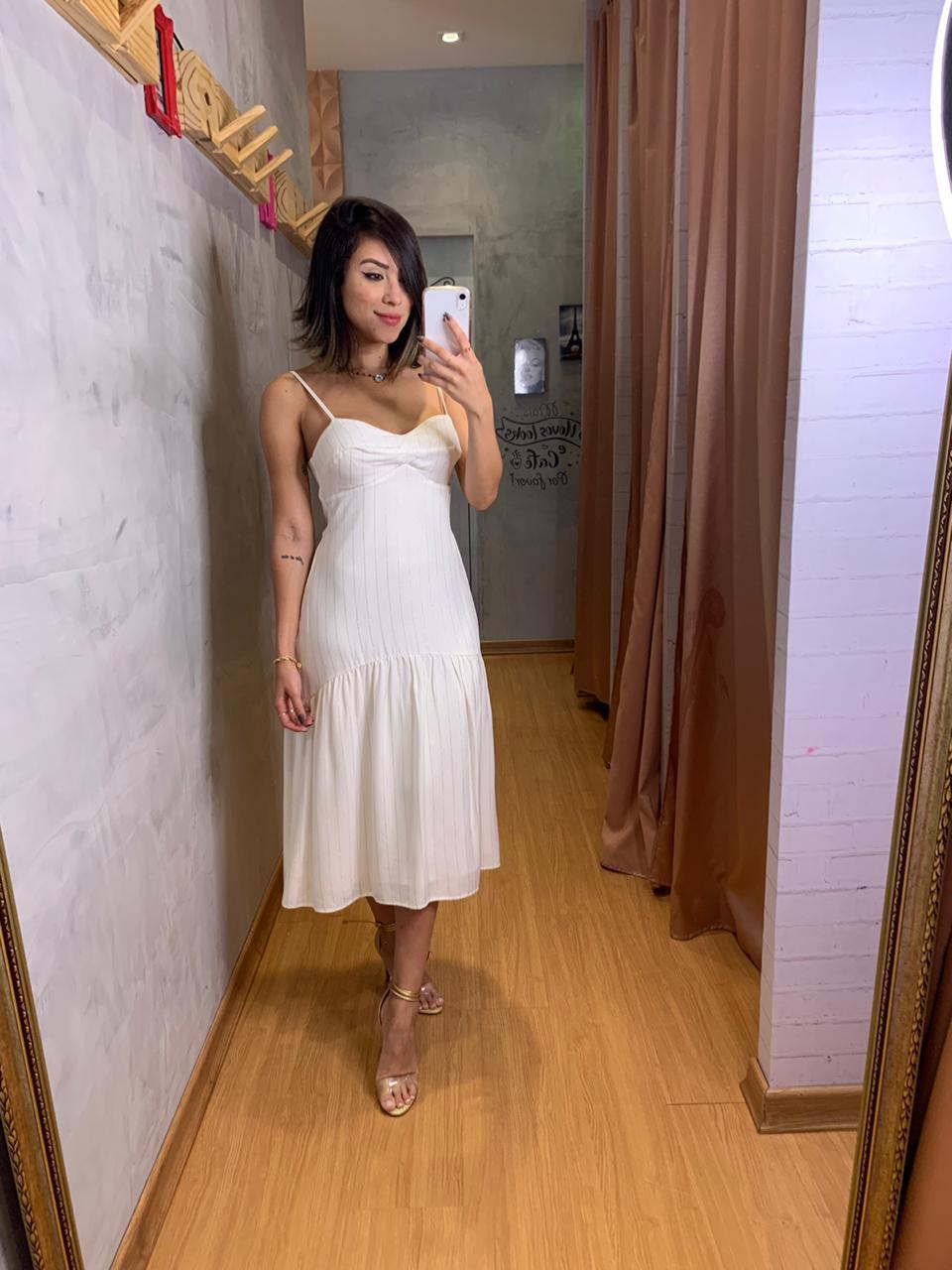 Vestido Flor de lis midi alcinha