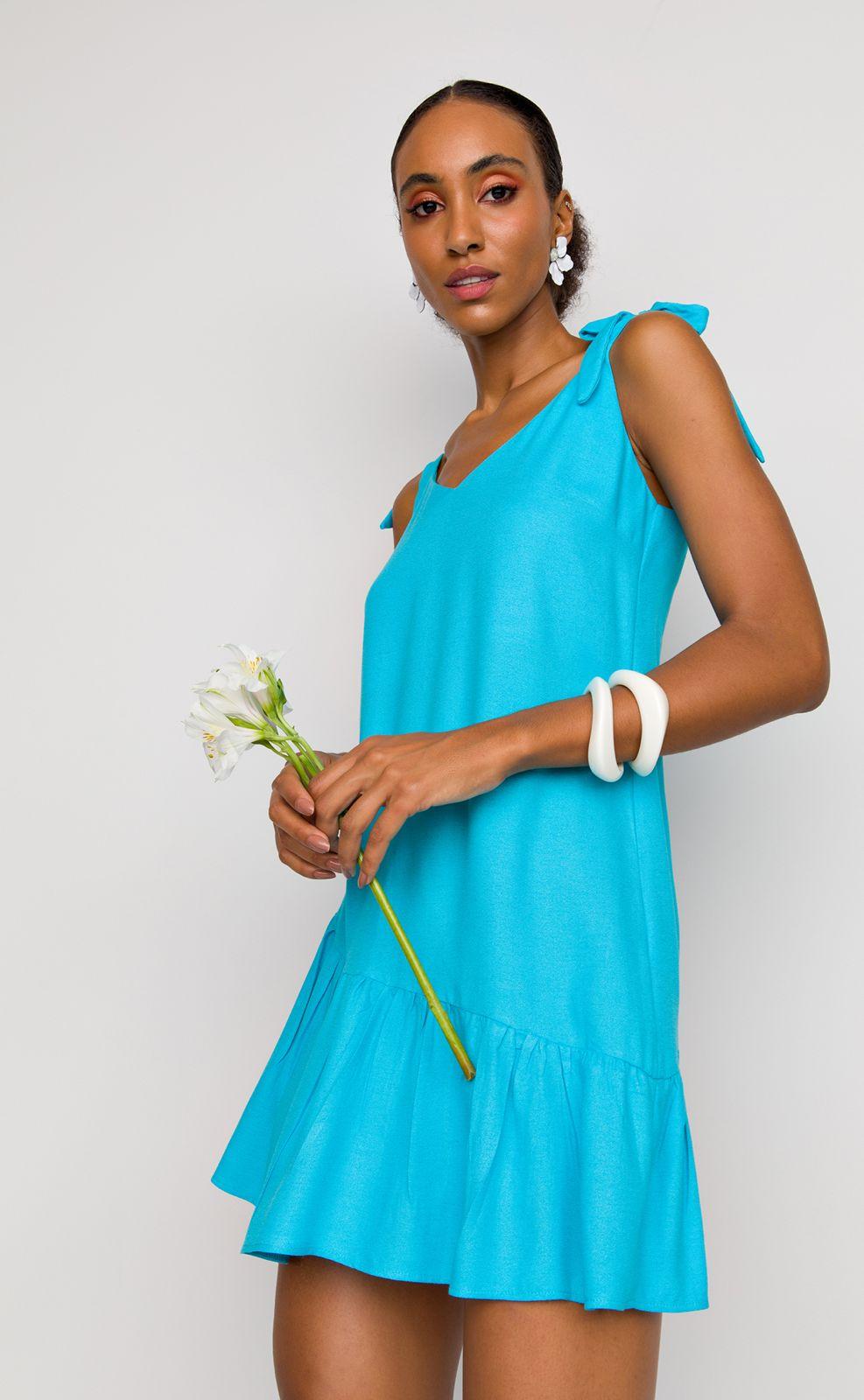 Vestido Flor de Lis solto curto alças babado barra