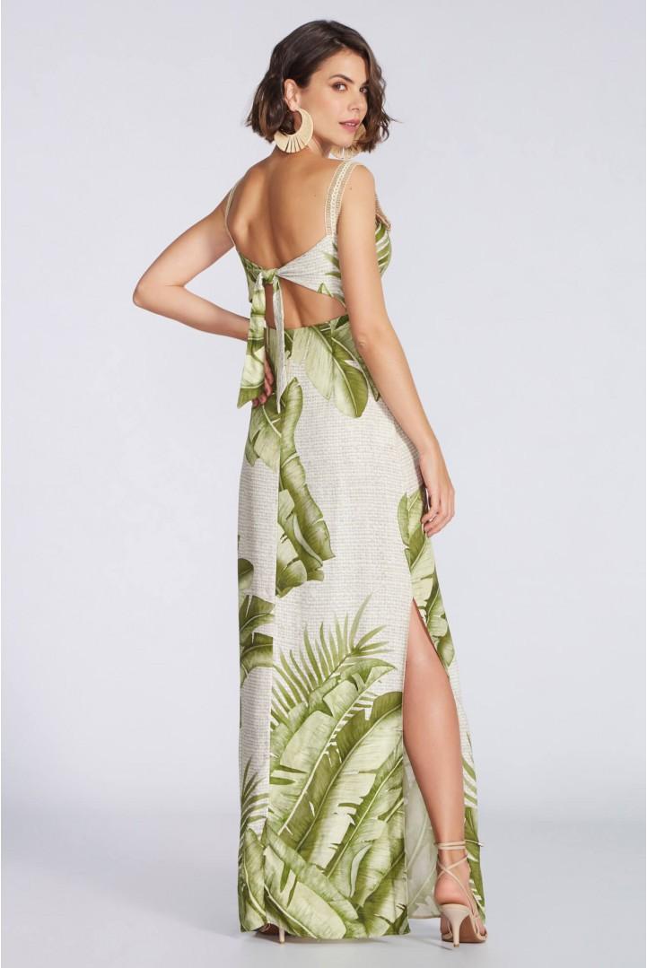 Vestido longo estampa folhas