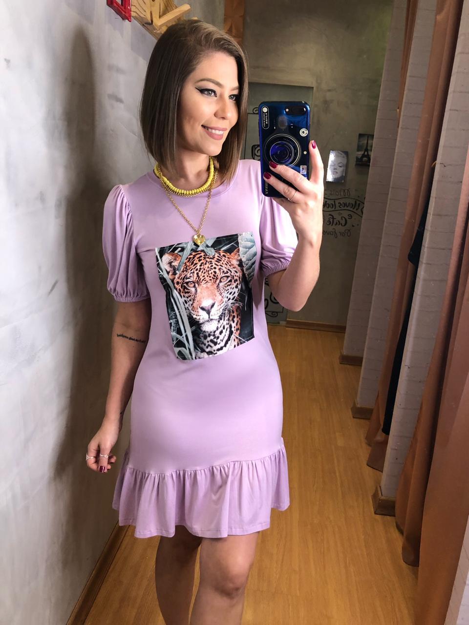 vestido malha tigre frontal