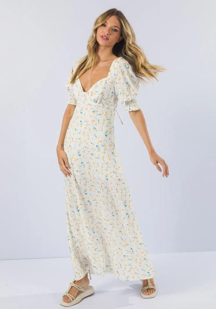 Vestido Myft longo manga curta costas recortes flores lavanda
