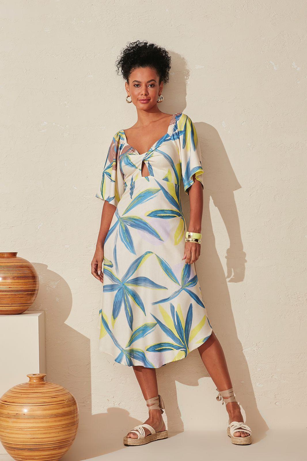 Vestido My Place midi estampa mar do Caribe