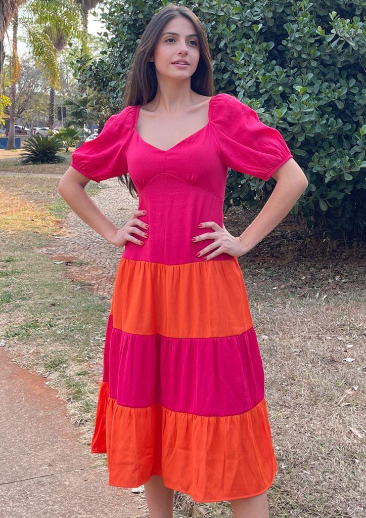 Vestido Naguchi Cerise bicolor