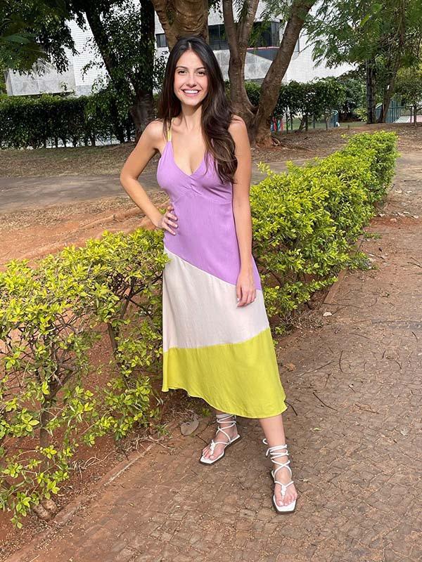 Vestido Naguchi midi alças tricolor