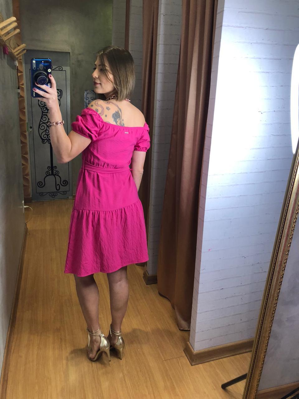 Vestido naguchi pink com cinto
