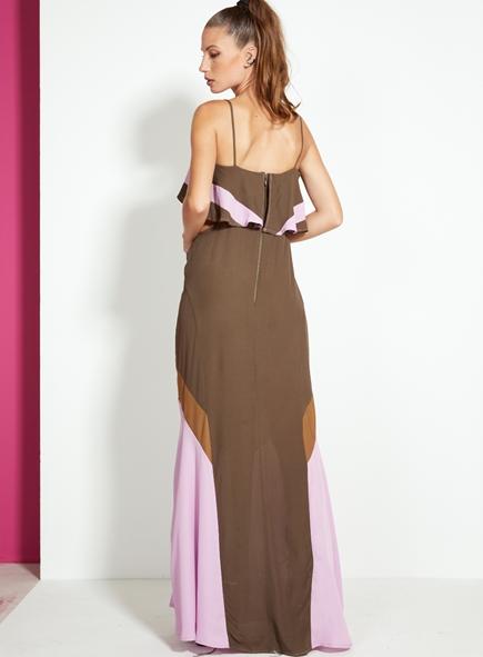Vestido Open longo bicolor