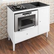 Balcão Compacto Multifuncional Cooktop, Forno E Pia Mônaco Branco - Art In Móveis