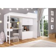Cama Alta 80 Multifuncional com baú e escrivaninha Lion Branco - Art In Móveis